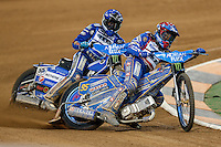 BARTOSZ ZMARZLIK (Poland), right, leads MATEJ ZAGAR (Slovenia), left, during the 2016 Adrian Flux British FIM Speedway Grand Prix at Principality Stadium, Cardiff, Wales  on 9 July 2016. Photo by David Horn.