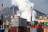 - Genoa Cornigliano, ILVA steel factory and containers terminal....- Genova, acciaieria ILVA di Cornigliano e terminal containers