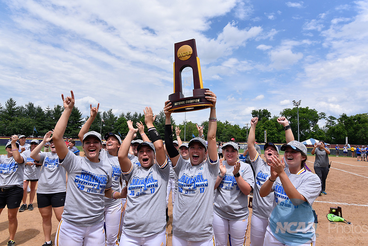 SALEM, VA - MAY 29:  Minnesota State University celebrates after defeating Angelo State University during the Division II Women's Softball Championship held at Moyer Park on May 29, 2017 in Salem, Virginia. Minnesota State defeated Angelo State 5-1 to win the national championship. (Photo by Andres Alonso/NCAA Photos via Getty Images)