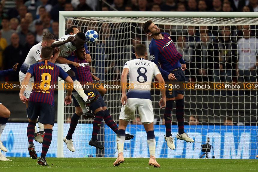Davinson Sanchez of Tottenham Hotspur gets in a header towards goal during Tottenham Hotspur vs FC Barcelona, UEFA Champions League Football at Wembley Stadium on 3rd October 2018