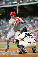 Philadelphia Phillies catcher Brian Schneider against the Houston Astros on Turn Back the Clock Nite. Game played on Saturday April 10th, 2010 at Minute Maid Park in Houston, Texas.  (Photo by Andrew Woolley / Four Seam Images)