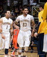 Allen Crabbe of California and Justin Cobbs of California celebrates after winning the game against Oregon State Beavers at Haas Pavilion in Berkeley, California on January 31st, 2013.  California defeated Oregon State, 71-68.