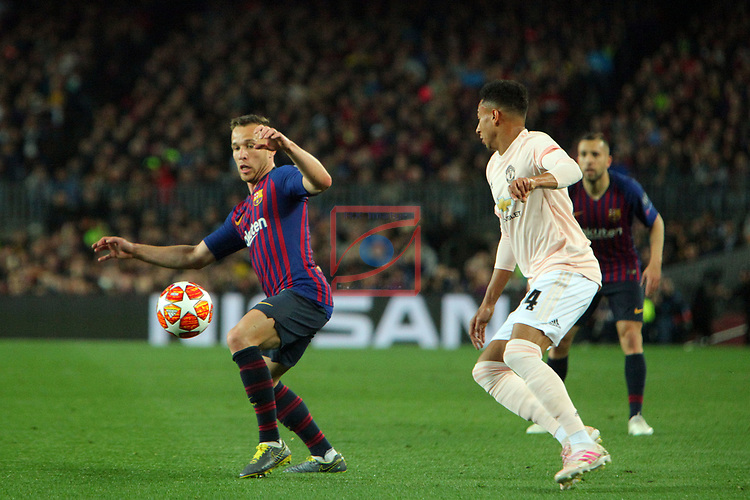 UEFA Champions League 2018/2019.<br /> Quarter-finals 2nd leg.<br /> FC Barcelona vs Manchester United: 3-0.<br /> Arthur vs Jesse Lingard.