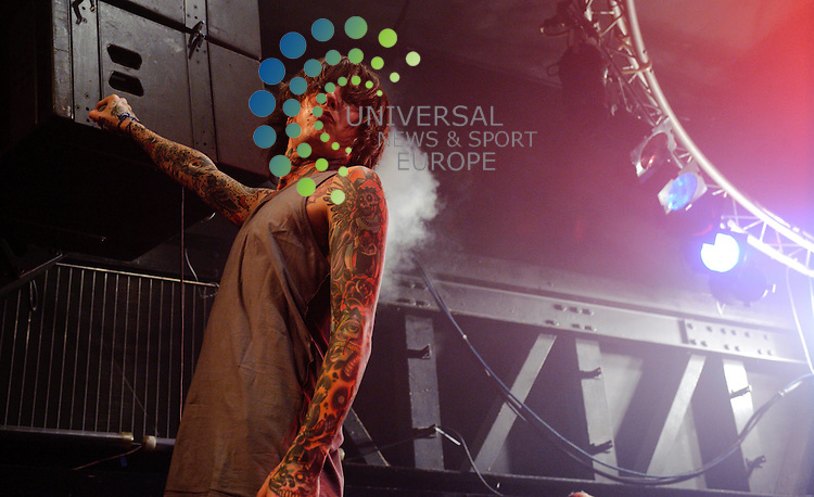 Oliver Sykes of English Metalcore band, Bring Me The Horizon performing at the Garage venue in Glasgow...The Garage, Sauchiehall St, Glasgow , Scotland .  Picture: Euan Anderson/Universal News And Sport (Scotland) 24th September 2010.