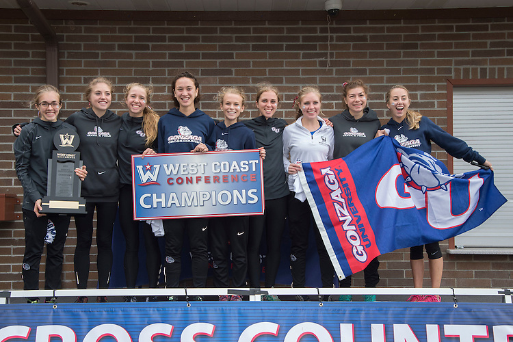 October 31, 2015; Spokane, WA, USA; 2015 WCC Women's Cross Country Team Champion (not in order) Gonzaga Bulldogs runner Shelby Mills (25), Gonzaga Bulldogs runner Jessica Mildes (24), Gonzaga Bulldogs runner Jordan Thurston (27), Gonzaga Bulldogs runner Maggie Jones (23), Gonzaga Bulldogs runner Amelia Evans (19), Gonzaga Bulldogs runner Katy Culver (18), Gonzaga Bulldogs runner Julie Henling (22), Gonzaga Bulldogs runner Olivia Evans (20), Gonzaga Bulldogs runner Erin Bergmann (16) during the WCC Cross Country Championships at Plantes Ferry Park.