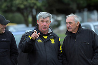 Wellington Pride coach Ross Bond with Petone legend Andy Leslie (right) at the Wellington premier women's club rugby Rebecca Liua'ana Trophy matches at Ngatitoa Domain in Wellington, New Zealand on Saturday, 6 April 2019. Photo: Dave Lintott / lintottphoto.co.nz