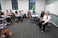 "Writing workshop: ""Dessert is Not an Ending: Food Writing in the Age of Instagram""<br /> with Jonathan Gold and Laurie Ochoa in Johnson Hall 104.<br /> Occidental College hosts the Oxy Food Conference, an annual meeting and conference for the Agriculture, Food and Human Values Society (AFHVS)/Association for the Study of Food and Society (ASFS). The event ran from June 14-17, 2017 and was organized by Oxy associate professor of sociology John Lang. This was the first time Oxy hosted this conference.<br /> More than 500 food scholars converged for one of the discipline's largest international conferences and the chance to discuss everything from sustainable agricultural and fisheries practices to the cultural significance of Basque-American ""picon punch.""<br /> (Photo by Marc Campos, Occidental College Photographer)"