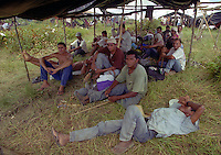 Members of Brazil's Landless Rural Workers' Movement (MST) occupy  ranch at Belém-Brasilia Highway in Pará state northern of Brazil, on April 2001. The invasion is part of a celebration to reminding the massacre in which 19 MST members were killed by the police in Eldorado dos Carajas.