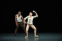 "London, UK. 29.10.2014. ""THOMAS ADES: See The Music, Hear the Dance"" opens at Sadler's Wells. Picture shows: ""Life Story"" choreographed by Karole Armitage, performed by ruka Hatua-Saar and Emily Wagner. Photograph © Jane Hobson."