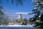 Winter view of the Maine State House, Augusta, Maine, USA