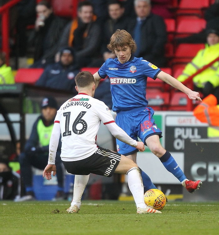 Bolton Wanderers Luca Connell in action with Sheffield United's Oliver Norwood<br /> <br /> Photographer Mick Walker/CameraSport<br /> <br /> The EFL Sky Bet Championship - Sheffield United v Bolton Wanderers - Saturday 2nd February 2019 - Bramall Lane - Sheffield<br /> <br /> World Copyright © 2019 CameraSport. All rights reserved. 43 Linden Ave. Countesthorpe. Leicester. England. LE8 5PG - Tel: +44 (0) 116 277 4147 - admin@camerasport.com - www.camerasport.com