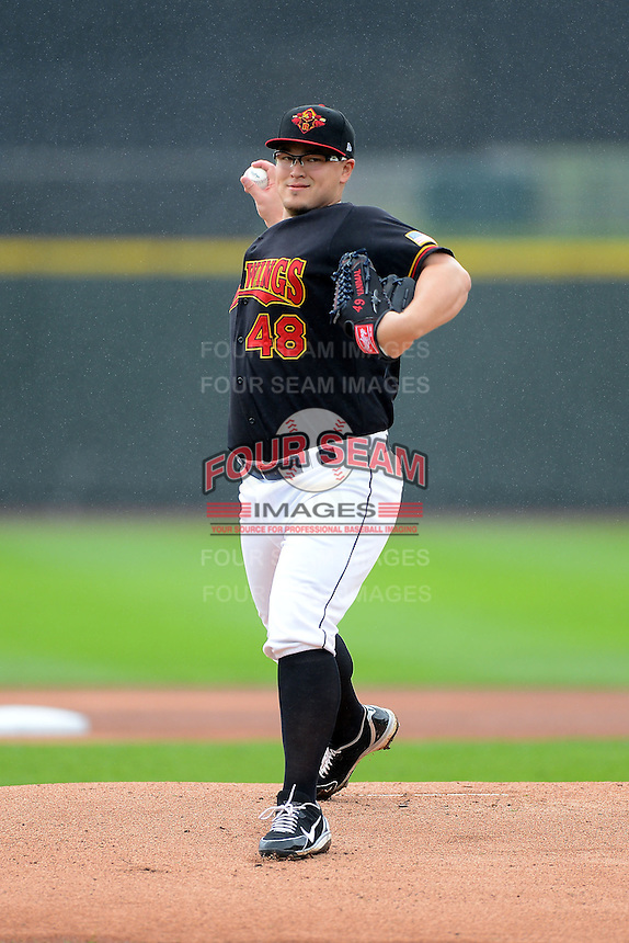 Rochester Red Wings pitcher Vance Worley #48 during a game against the Toledo Mudhens on June 11, 2013 at Frontier Field in Rochester, New York.  Toledo defeated Rochester 9-5.  (Mike Janes/Four Seam Images)