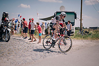 Chad Haga (USA/Sunweb) at the end of pav&eacute; sector #9<br /> <br /> Stage 9: Arras Citadelle &gt; Roubaix (154km)<br /> <br /> 105th Tour de France 2018<br /> &copy;kramon