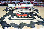 03 November 2016: The NC State wolf logo painted on the court. The North Carolina State University Wolfpack hosted the Lynn University Fighting Knights at PNC Arena in Raleigh, North Carolina in a 2016-17 NCAA Division I Men's Basketball exhibition game. NC State won the game 100-66.