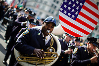 NEW YORK, USA - November 11: NYPD band performs during the 100 Veterans Day parade on November 11, 2019 in New York, USA. President Donald Trump, the first sitting U.S. president attended New York's parade, where he offered a tribute to veterans ahead of the 100th annual parade  (Photo by Eduardo MunozAlvarez/VIEWpress)