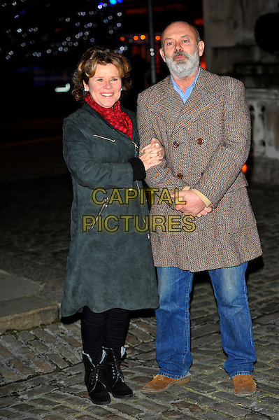 Imelda Staunton and Keith Allen .Attending the launch party for the Somerset House Ice Rink at Somerset House, London, England, UK, .November 15th 2012.full length  brown tweed coat grey gray red scarf jeans boots black .CAP/CJ.©Chris Joseph/Capital Pictures.
