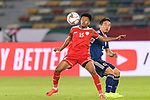 Jameel Al Yahmadi of Oman (L) in action Nagatomo Yuto of Japan (R) during the AFC Asian Cup UAE 2019 Group F match between Oman (OMA) and Japan (JPN) at Zayed Sports City Stadium on 13 January 2019 in Abu Dhabi, United Arab Emirates. Photo by Marcio Rodrigo Machado / Power Sport Images