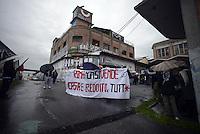 Roma, 20 Gennaio 2014<br /> Blocchi stradali sulla Prenestina nella giornata di mobilitazione per il diritto alla casa e il reddito.<br /> Nella foto la ex fabbrica occupata Fiorucci, Metropoliz