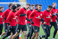 James Chester enjoys a laugh with Neil Taylor during a Wales Training Session at Cardiff City Stadium ahead of the FIFA World Cup Qualification match against Serbia, Cardiff, Wales on 11 November 2016. Photo by Mark  Hawkins.