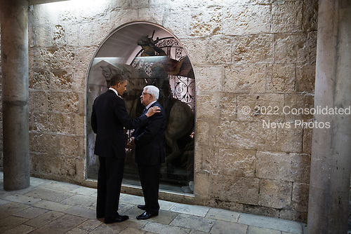 United Stated President Barack Obama and President Mahmoud Abbas of the Palestinian Authority talk following their tour of the Church of the Nativity in Bethlehem, the West Bank, March 22, 2013. .Mandatory Credit: Pete Souza - White House via CNP