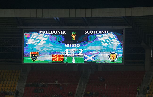 Full time scoreboard in Skopje