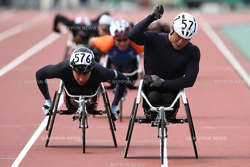 (L-R)<br /> Tomoki Suzuki,<br /> Masayuki Higuchi,<br /> MAY 1, 2016 - Athletics :<br /> Japan Para Athletics Championships<br /> Men's 800m T54 Final<br /> at Coca Cola West Sports Park, Tottori, Japan.<br /> (Photo by Shingo Ito/AFLO SPORT)