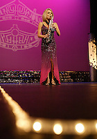 12 July, 2008:    Miss Tri-Cities Kristin Cox performed a Saxophone number in the talent competition on stage during the 2008 Miss Washington pageant at the Pantages Theater in Tacoma , Washington.