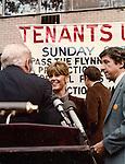 Jane Fonda and Tom Hayden <br /> Speak at  a Tenants Unity Rally at Dag Hammarskjold Plaza in New York City.<br /> October 1, 1980