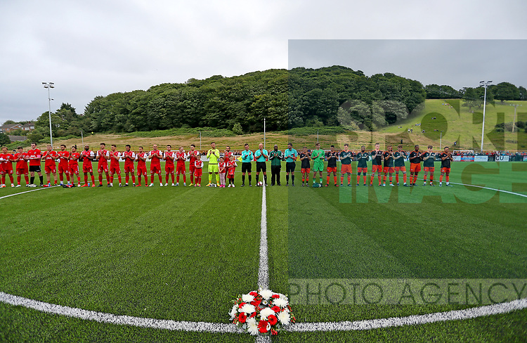 Both teams line up for a minutes applause during the pre season match at the Flamingo Land Stadium, Scarborough. Picture date 15th July 2017. Picture credit should read: Richard Sellers/Sportimage