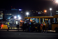 Fans board buses after the Super Rugby match between the Hurricanes and Chiefs at Westpac Stadium, Wellington, New Zealand on Saturday, 23 April 2016. Photo: Dave Lintott / lintottphoto.co.nz