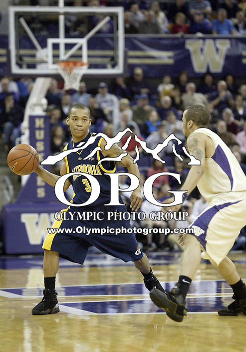February 2, 2008:   California's #1 Jerome Randle looks for a open teammate to pass the ball to against Washington.  California defeated Washington 79-75 at Bank of America stadium in Seattle, WA.