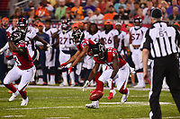 Canton, Ohio - August 1, 2019: Atlanta Falcons wide receiver Olamide Zaccheaus #17 fumbles a punt return during a pre-season game against the Denver Broncos at the Tom Benson Hall of Fame stadium in Canton, Ohio August 1, 2019. This game marks start of the 100th season of the NFL. (Photo by Don Baxter/Media Images International)