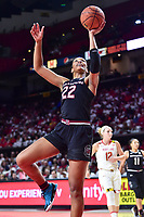 College Park, MD - NOV 13, 2017: South Carolina Gamecocks forward A'ja Wilson (22) scored a career high 32 points and pulled down 12 rebounds during game between No. 4 ranked South Carolina and the No. 15 Maryland Terrapins at the XFINITY Center in College Park, MD. The Gamecocks defeated Maryland 94-86.  (Photo by Phil Peters/Media Images International)