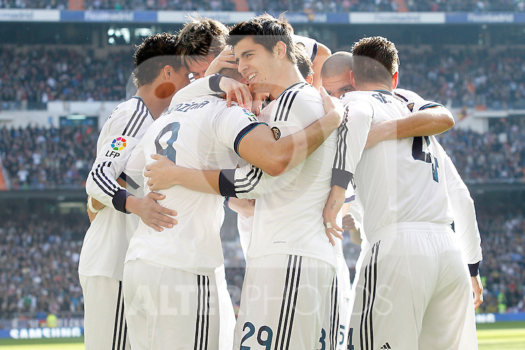 Real Madrid's Karim Benzema, Raphael Varane, Alvaro Morata, Fabio Coentrao, Sergio Ramos and Pepe celebrate goal during La Liga match.March 02,2013. (ALTERPHOTOS/Acero)