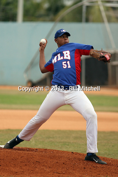 Erling Moreno plays in the 2013 MLB Amateur Prospect Showcase in San  Cristobal, Dominican Republic on January 17, 2013.