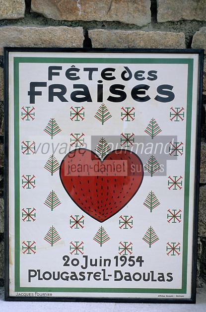Europe/France/Bretagne/29/Finistère/Plougastel-Daoulas: Fraise de Plougastel-Daoulas Affiche pour la Fête de La Fraise en 1954