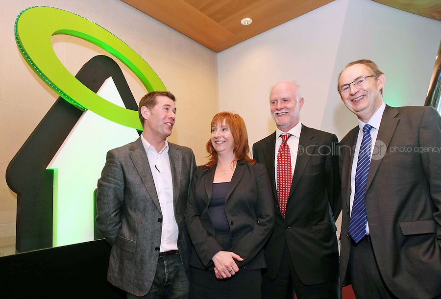 08/11/'10 **NO FEE FOR REPRODUCTION** From left, renowned architect and presenter of RTE's 'Room to Improve', Dermot Bannon, Lisa Browne of ESB, Brian Dowd of ESB and Liam Molloy of ESB pictured at the launch of the ESB HALO Service at the National Convention Centre this morning. ESB HALO is the new inovative, home energy efficiency service designed to meet the energy needs of homeowners throughout the country. HALO Installation Service is a total one-stop solution to home energy needs, from insulating your walls to solar panels on the roof. ESB HALO provides homeowners with the products and installation services they need to meximise savings and minimise their carbon footprint...Picture Colin Keegan, Collins, Dublin.