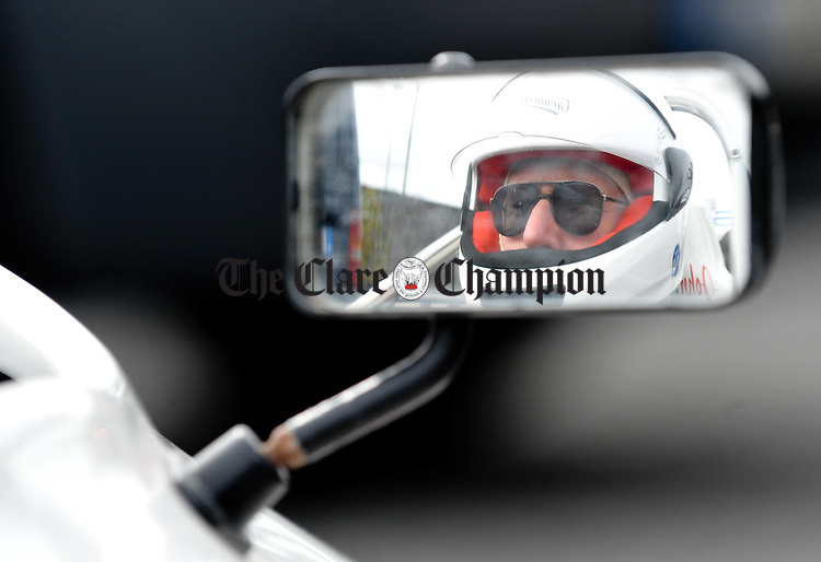Omagh's John Donnelly reflected in the mirror of his one-seater  at Scalp Hill Carron during one of the opening two rounds of the Connaught Competition Engines Irish Hillclimb & Sprint Championship on the annual Clare Motor Club Hillclimb Weekend. Photograph by John Kelly.