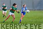 Kerrry's Aisling O'Connell keeps an eye on Maria Delahunty of Waterford in the LGFA National football league in Strand Road on Saturday.