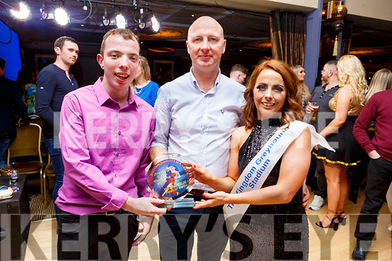 Diarmuid Lynch and Julie Deane winner of the Public Vote receiving their award from Jer Lynch, Chairman of the Ballymac GAA Club, at the Ballymac Strictly Love dancing in the Ballygarry House Hotel on Saturday