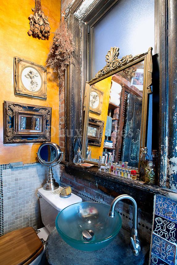 Glass washstand in bathroom