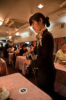 Hokutosei or the North Star night train dining car makes its way daily in both directions from Ueno to Sapporo.  Blue Trains or long-distance sleeper trains, are nicknamed for the color of the train cars.