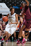25 February 2016: Wake Forest's Ariel Stephenson (25) and Virginia Tech's Taijah Campbell (CAN) (24). The Wake Forest University Demon Deacons hosted the Virginia Tech Hokies at Lawrence Joel Veterans Memorial Coliseum in Winston-Salem, North Carolina in a 2015-16 NCAA Division I Women's Basketball game. Virginia Tech won the game 54-48.
