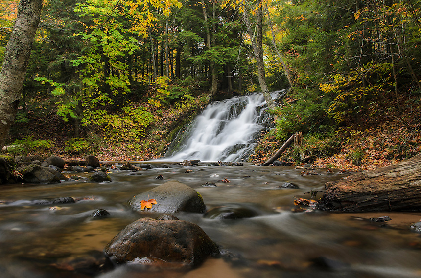 Beautiful Morgan Falls flowing through the autumn colors. Marquette, MI