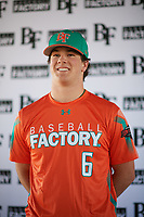 Zachary Morris (6) of St. Joseph High School in Santa Maria, California during the Baseball Factory All-America Pre-Season Tournament, powered by Under Armour, on January 12, 2018 at Sloan Park Complex in Mesa, Arizona.  (Zachary Lucy/Four Seam Images)