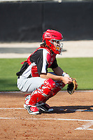 Hickory Crawdads catcher Kellin Deglan (6) on defense against the Kannapolis Intimidators at CMC-Northeast Stadium on April 9, 2014 in Kannapolis, North Carolina.  The Intimidators defeated the Crawdads 1-0.  (Brian Westerholt/Four Seam Images)