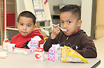 Students enjoy breakfast on Monday in their new classroom at Katherine Smith Elementary School.