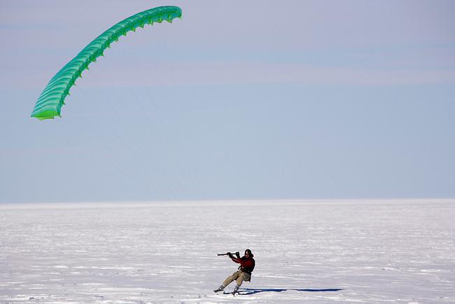 Ronni Ski-sailing in a good wind at Patriot Hills. Antarctica