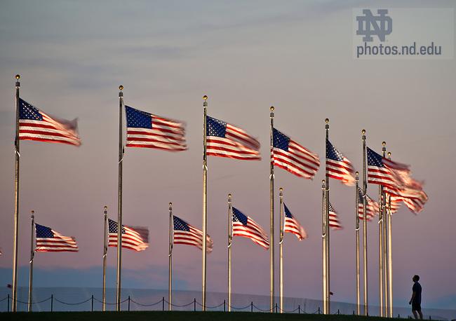 Sep 26, 2012; U.S. flags around the Washington Monument, Washington, D.C...Photo by Matt Cashore/University of Notre Dame