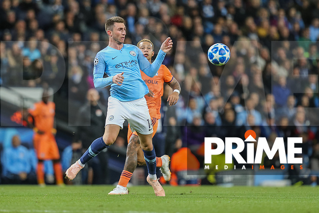 Aymeric LAPORTE of Manchester City wins the ball in the air during the UEFA Champions League match between Manchester City and Olympique Lyonnais at the Etihad Stadium, Manchester, England on 19 September 2018. Photo by David Horn / PRiME Media Images.